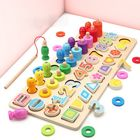 Meilleurs prix Wooden Toys Rings Montessori Math Toys Counting Fishing Board Child Kids Preschool Educational Learning Gifts