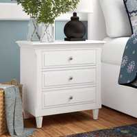 White 3 Drawers Nightstand Wooden Closet Table Classic and Contemporary Elements