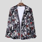 Promotion Abstract Printing Double Pockets Long Sleeve Casual Jacket