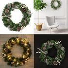 Offres Flash 60CM LED Light Christmas Garland Xmas Nuts Home Shop Door Wall Wreath Decorations