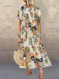 Vintage Leaves Floral Print O-neck Pleated Maxi Dress