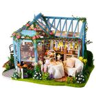 Les plus populaires Cuteroom A068 DIY Cabin Rose Garden Tea House Handmade Doll House Model With Dust Cover Music Motor