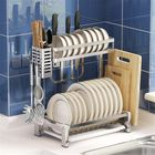 Meilleurs prix New 304 Stainless Steel Double/Three Tier Plate Rack Kitchen Shelf Rack Drying Drain Storage Plate Dish Rack Holders Tool Organizers