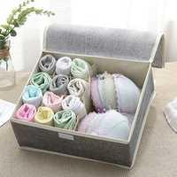 Cotton Underwear Storage Box Organizer Multi-Collapsible Bra Underwear Socks Storage Box Parts Storage Box