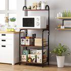 Prix de gros 4 Tiers Wooden Kitchen Storage Shelf Bookshelf Iron Art Kitchenware Storage Organizer Shelf Stand Microwave Oven Rack Spice Rack Cupboard Furniture