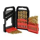Acheter au meilleur prix Drillpro 29Pcs 1/16 to 1/2 Inch Titanium Coated HSS Twist Drill Bit Set with Plastic Box for Wood Plastic Aluminum Copper