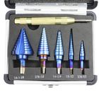 Meilleurs prix Drillpro 6Pcs HSS Nano Blue Coated Step Drill Bit With Center Punch Set Hole Cutter Drilling Tool