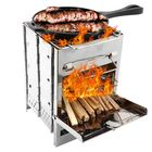 Promotion Outdoor BBQ Grill Stove Adjustable Stainless Steel Camping Picnic Cooking Wood Stove Set