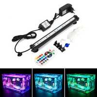 DOCEAN LED RGB Aquarium Light 28cm 16 Color RF Remote Control Waterproof Fish Tank Underwater Lamp