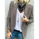 Promotion Women Casual Plaid Turn-down Collar Pocket Blazers