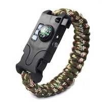 7 in 1 Outdoor EDC Survival Bracelet Infrared Laser LED Flashlight Compass Whistle Reflector Camping Emergency Tools Kit