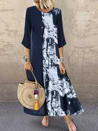 Crew Neck print splice Contrast Color Maxi Dress
