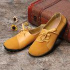 Meilleurs prix Plus size Women Lace Up Leather Flats Soft Casual Shoes