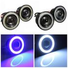 Les plus populaires 2PCS 3 Inch Projector LED Fog Lights Angel Eyes with Blue/White Halo Ring DRL Lamp 12V for Car Motorcycle