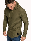Recommandé Mens Hooded Striped Fold Raglan Sleeve Sweatshirt