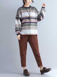 Plus Size Women Woolen Stripes Sweatshirts