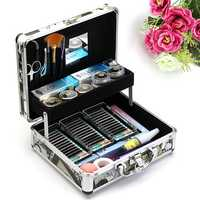 Professional False Eyelash Extension Glue Brush Kit Set Tool Box