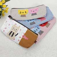 Cat Pattern Strip Pencil Case Makeup Tool Bag