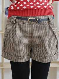 Plaid Pattern Curling Woolen Shorts Pants