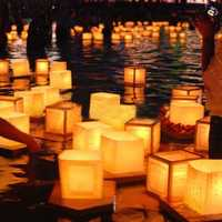 Chinese Square Paper Wishing Floating River Candle Lanterns Lamp Light