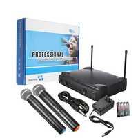 Dual Wireless Microphone System Cordless Handheld Mic Kareoke KTV
