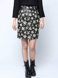 Retro Floral Back Zipper Black Belt Knee Length PU Skirt