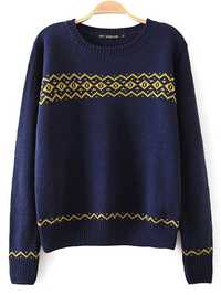 Women Vintage Geometry Round Neck Knitting Pullover Sweater
