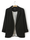 Acheter au meilleur prix Casual Solid Color No Button Turn Down Neck 3/4 Sleeve OL Blazer Suit