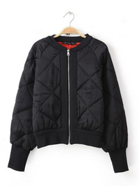 Fashion Casual Loose Quilting Long Sleeve Short Jacket Coat
