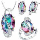 Promotion 18K Platinum Plated Zircon Gemstone Oval Shape Jewelry Set