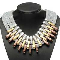 Multilayer Charm Chain Statement Bib Pendant Necklace For Women