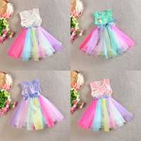 2015 Toddler Kids Girls Rainbow Sleeveless Princess Party Gauze Skirt Tutu Dress