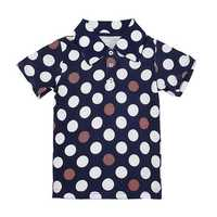 2015 New Little Maven Lovely Wave Point Lapel Baby Children Boy Cotton Short Sleeve