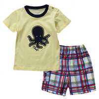 2015 New Lovely Octopus Yellow Baby Children Boy Pure Cotton Short Sleeve + Shorts Suit