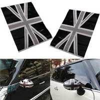 2Pcs Black Union Jack Flag Vinyl Mirrors Stickers For Mini Cooper