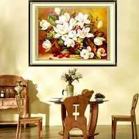 52×44cm DIY Cross Stitch Gardenia Flower Needlework Kits Home Decor