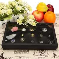100 Slot Black Velvet Jewelry Ring Case Display Store Storage Box Tray Organizer