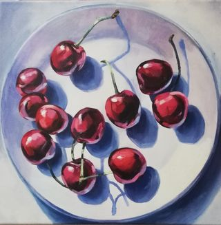 Kirschen auf dem Teller
