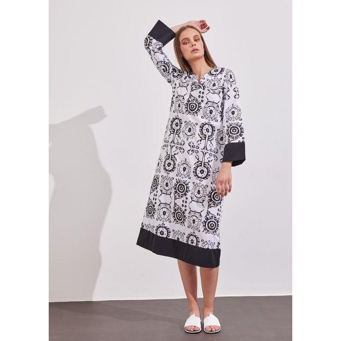 Φόρεμα με boho μοτίβο - Μαύρο