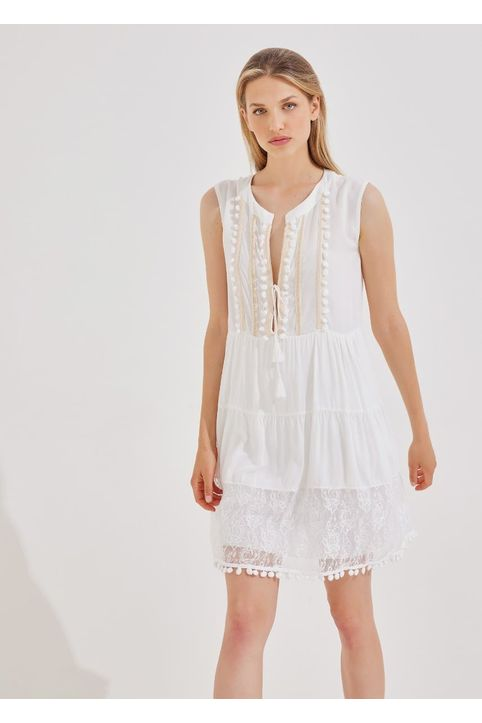 Φόρεμα αμάνικο με δαντέλα και πομ-πον - Λευκό