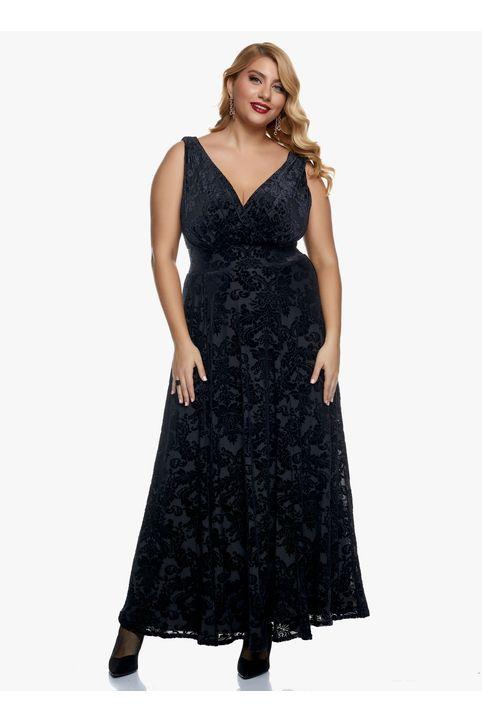 Φόρεμα Μαύρο Βελούδο Μπροκάρ