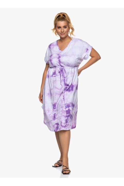 Βαμβακερό Midi Φόρεμα Tie Dye Μωβ