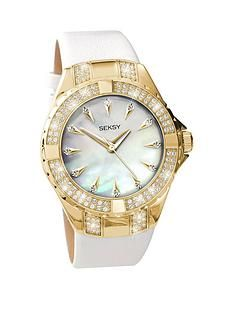 1461026400: Seksy Gold Plated Case with Crystal from Swarovski® Elements White Leather Strap Ladies Watch