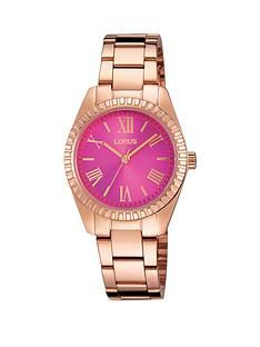 1600073695: Lorus Lorus Pink Sunray Dial, Rose Gold Bracelet Ladies Watch