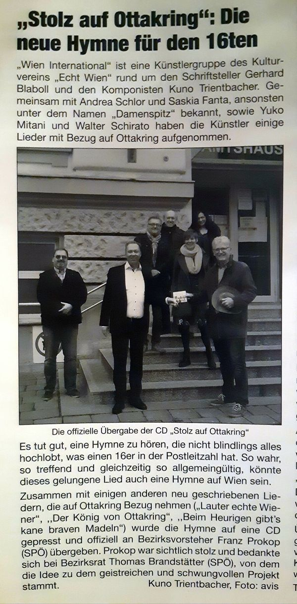 Musik für Ottakring im Lieben Augustin: Künstlergruppe Wien International bei BV Franz Prokop