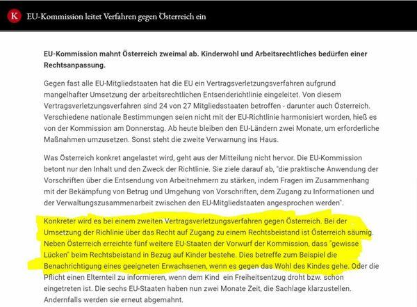Österreich bei Kindeswohl säumig: Nun verwarnt die Europäische Union Österreich