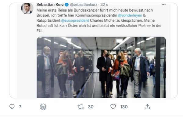 Twitter-Fauxpas Kanzler Kurz berichtet von seiner ersten Dienstreise