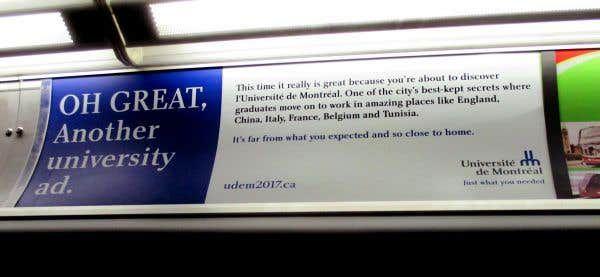 Publicités «in english» pour l'Université de Montréal
