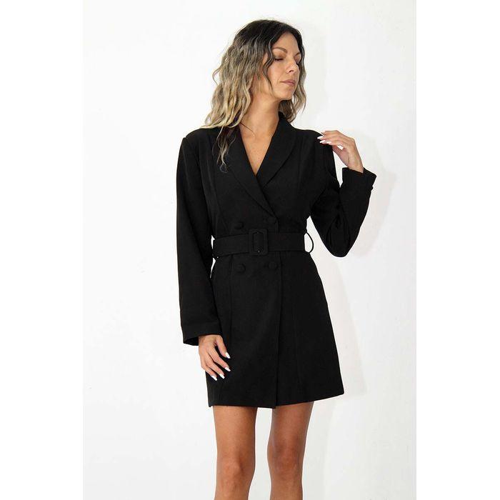 Γυναικείο σακάκι φόρεμα με ζώνη σε μαύρο