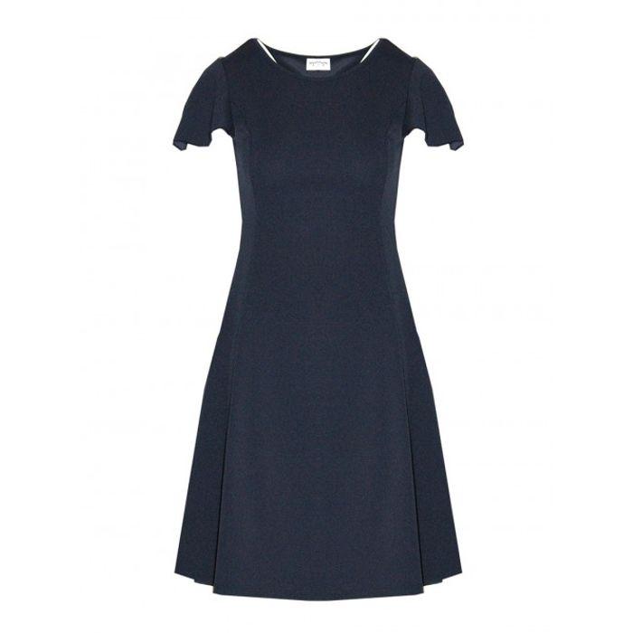 Φόρεμα μονόχρωμο εβαζέ - ΜΠΛΕ